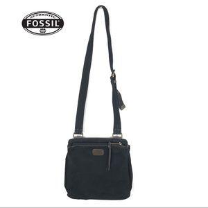 FOSSIL BLACK MESSENGER CROSSBODY BAG